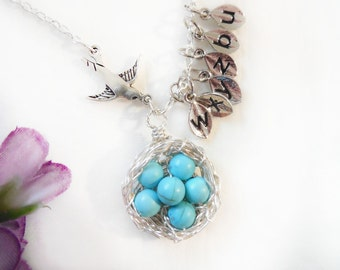 Six Egg Bird Nest Custom Initial Leaf Charm Monogram Mother Gift Wire Wrapped Pink Blue Pearls Day  KarmaBeads Stamped