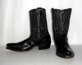 Vintage Texas Brand Kids Cowboy Boots Boys sz 3 D Black Green Collectible Western Decor