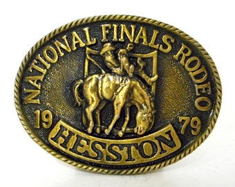 Hesston 1979 NFR Rodeo Belt Buckle National Finals Rodeo Oklahoma City OKC Horse Cowboy Vintage