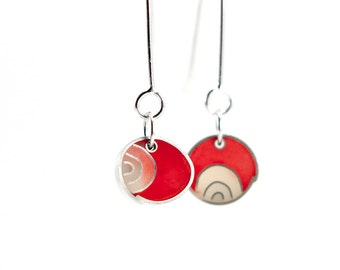 My View Earrings dangle red and white resin sterling silver