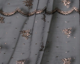 "Gorgeous Fine Black Netting with Gold Floral and Scallops Sheer Poly Metalic Fabric 50"" wide BTY"