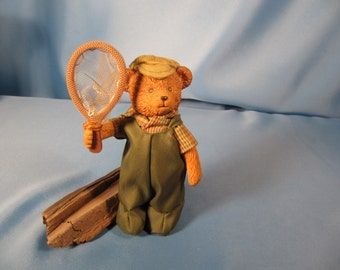 RUSS TEDDY BEAR Charcter, Authentic stamped Russ Bear inCostume, made of Plastic, Costume is Fabric, Butterfly Catcher Russ Bear, Authentic