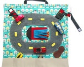 Toys for Boys – Car Carrier Toy – Pretend Play – Raceway Deluxe Car Play Mat – Ring Bearer Gifts - Car Playscape - Rose Serenity