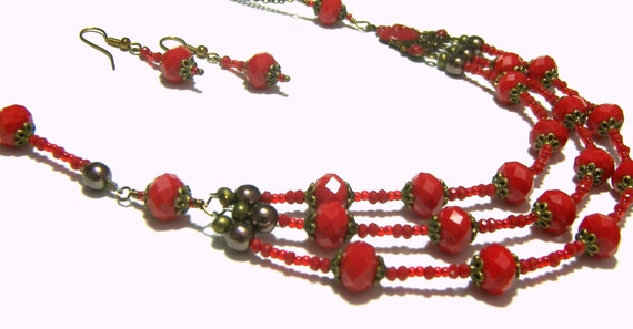 Red Beaded Victorian Vintage Necklace Set Most Popular Jewelry Best Selling Jewelry Top Selling Jewelry