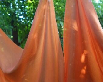 "Madder Dyed Orange Silk Fabric 2 Pieces Orange Coral Salmon Lightweight Habotai Silk Fabric 26"" x 26""Natural Dye Art Fabric Madder Dyed Silk"