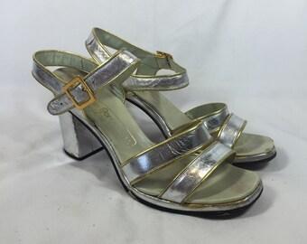 Vintage 1960s Chunk Heel Silve Strappy Sandals 8N