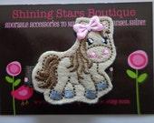 Hair Accessories - Felt Hair Clips - Light Brown And Pixie Pink Embroidered Felt Horse Hair Clippie For Girls - Farm Animal