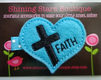 Girls Hair Accessories - Felt Hair Clips - Turquoise Blue Embroidered Felt FAITH With A Cross Hair Clippie For Toddlers And Kids - Jesus Bow