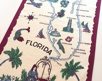 Vintage Florida tea towel kitchen towel 1940s Mid Century souvenir Floridiana palm trees kitsch