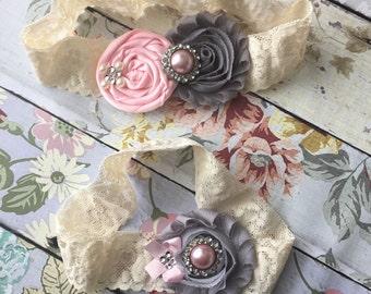 Blush and grey wedding garter , bridal garter set , vintage lace garter , toss garter , garter, blush pink