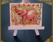 Baby African Elephant Original ACEO Painting on Watercolor Board - African Graphics - FREE Shipping