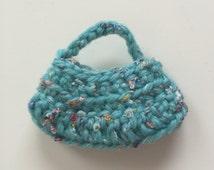 Handmade Ellowyne Gene Clothes Purse Handbag Hobo Crochet Pale Aqua