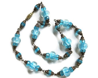Venetian Necklace Art Glass and Crystals Filigree Vintage Single Strand Blue & White Murano
