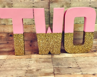 Gold glitter dipped Letters gold center piece glitter nursery decor glitter letters first birthday letter TWO letters 1 letter listing