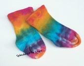 socks, newborn, Tie Dye, bamboo, hand dyed, baby socks, rainbow colors, newborn to 6 months