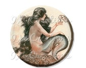 "35% OFF - Pocket Mirror, Magnet or Pinback Button - Wedding Favors, Party themes - 2.25""- Mermaid with Shoe MR347"