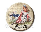 "30% OFF - Pocket Mirror, Magnet or Pinback Button - Wedding Favors, Party themes - 2.25""- Alice In Wonderland Alice and Rabbit MR268"