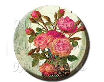 "35% OFF - Pocket Mirror, Magnet or Pinback Button - Wedding Favors, Party themes - 2.25""- Splendid Roses MR196"
