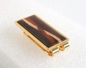 Inlaid Wood Money Clip Vintage Cash Money Holder Mahogany Red Brown