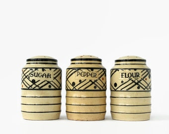 Vintage Kitchen Shakers, Art Deco Japanese Lantern Pattern, Sugar, Flour, Salt, Hand-Painted Japan
