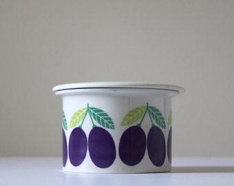 Arabia of Finland Pomona Jam Pot, Luumu Plum Pattern, Scandinavian Ceramics, Raija Uosikkinen