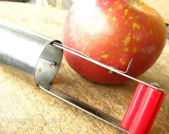 Vintage Red Bakelite Apple Fruit Corer Acme Coremaster Stainless Steel Utensil Tool Retro Kitchen Decor