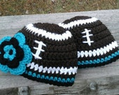 Newborn Carolina Panthers Football Beanie Hat,  Boys or Girls Design.  Custom order also available all sizes.