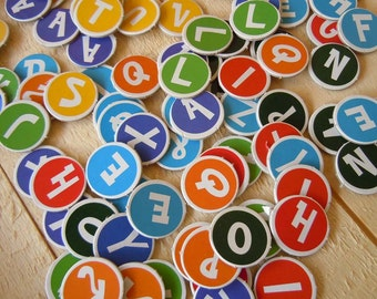 """1"""" Alphabet Letters Chipboard Scrapbooking Diecuts ABC Round Circle Letters Stocking Stuffer"""