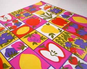 1980s All Occasions Fruit Wrapping Paper | Gift Wrap Colorful Apple Lemon Strawberry Gift Wrap