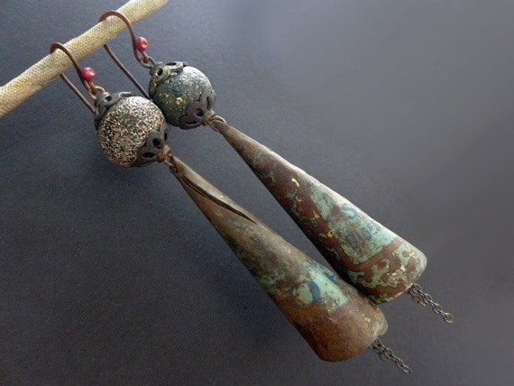 Bluestocking. Rustic salvaged tin and polymer earrings.