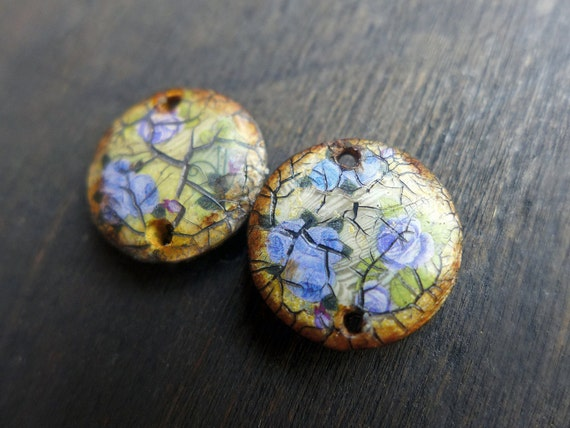 Crushed Bouquets- rustic polymer clay connectors. Earring pair. Two (2) handmade artisan art beads
