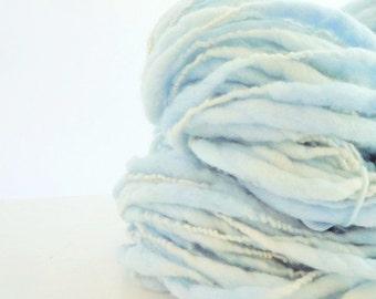 Hand Spun Yarn, Handspun Thick and Thin Yarn, Thick and Thin Yarn, Storybook Fibers, Bulky Yarn, FairyTale Fairy Land, Blue 64 yds