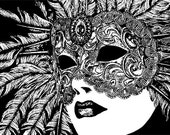 woman wearing venetian mardi gras mask clipart png clip art Digital Image Download graphics printable art masquerade ball
