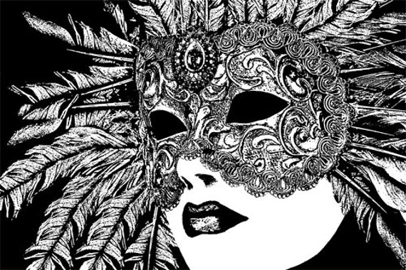 "woman venetian mardi gras mask printable art Digital Image Download graphics masquerade ball party black and white artwork 9.4"" x 14"""