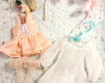 Jiajia Doll 4 Pieces Full Set Silk Meow pink set fit jerryberry or pullip or Azone or blythe or fashion royalty