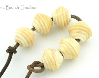 Ribbed Bicone Ivory Handmade Glass Lampwork Beads (6 Count) by Pink Beach Studios - SRA (1093)