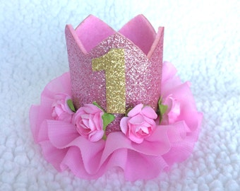 First Birthday Glitter Floral Crown - Newborn - Baby - 1st Birthday - Photo Prop - Pink Gold