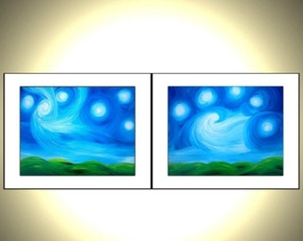 2 PRINTS With MATTES of Original Night Stars Painting Sale 22% Off