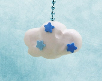 Cloud Fan Pull with Star Accents, Cloud Nursery, Children's Cloud and Stars Room Decor - Polymer Clay