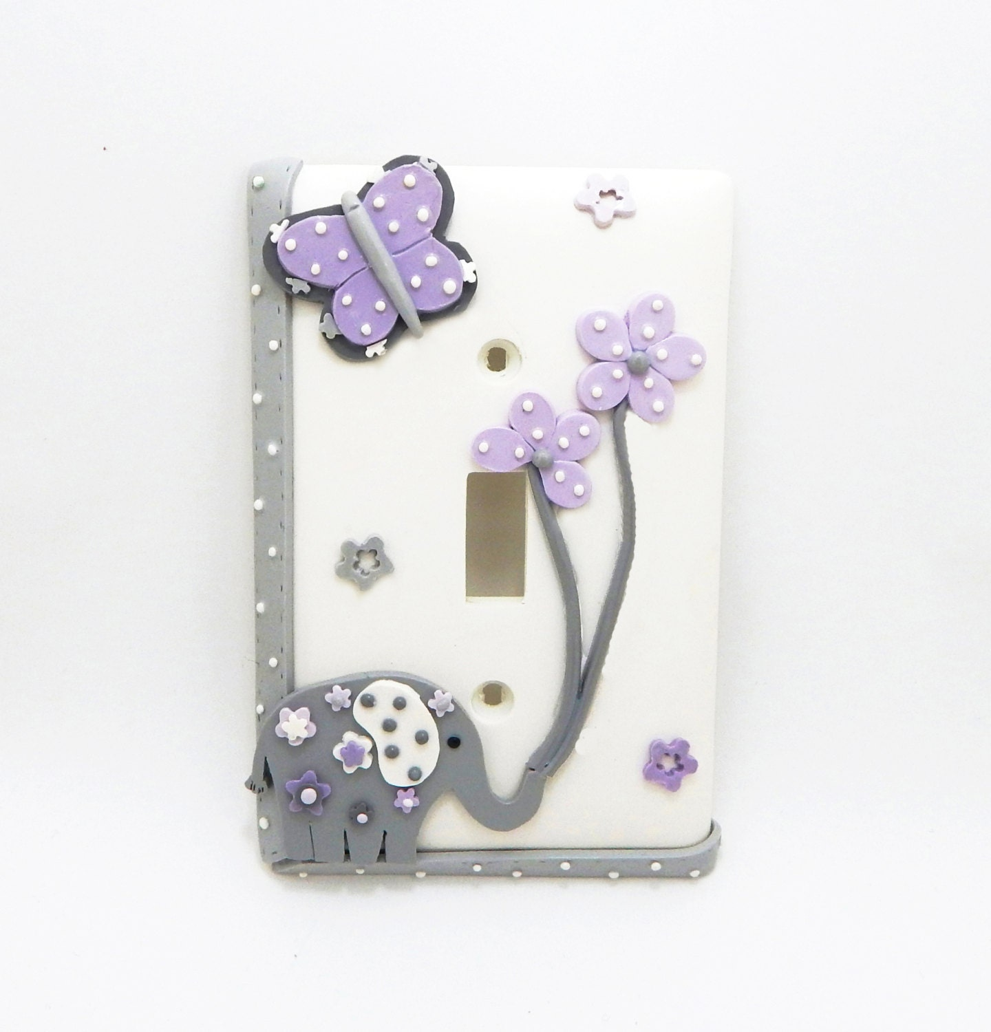 Elephant Butterfly And Flowers Light Switch Or Outlet Cover