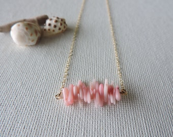 Simple pink coral necklace - light pink coral chips & gold filled chain - beach jewelry