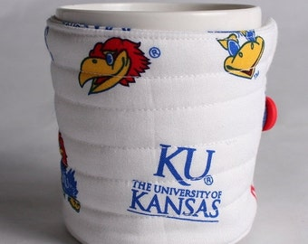 Winter Clearance coffee cup cozy  fabric java jacket, mug cozy reuseable eco friendly, KU Kansas