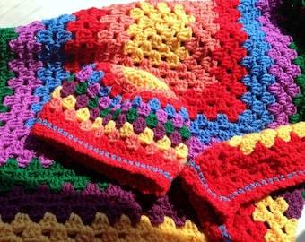 Rainbow baby afghan, Crochet baby blanket, handmade gift set,