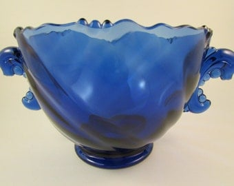 Vintage Imperial Glass Cobalt Blue Art Glass Bowl with Decorative Handles Made in the USA