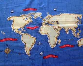 SALE. Out To Sea Map of the world by Sarah Jane for Michael Miller