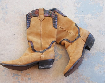 vintage 1980s Cowgirl Boots - 80s Brown Suede and Iridescent Snakeskin Boots - Womens Dingo Cowboy Boots Sz 7 38