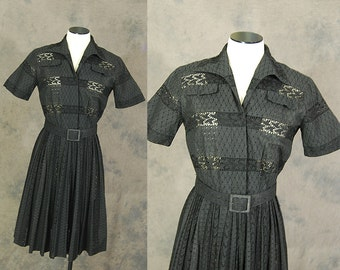 vintage 50s Day Dress - Black Embroidered Eyelet Dress 1950s Cutwork Cut Out Cotton Dress Sz S