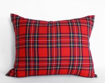 Red Plaid Pillow Cover, Red Tartan Pillows, Christmas Plaid Pillow, Lumbar 12x18, 14x18, 12x20, 14x20, 16x26 Stuart Stewart Plaid Cushion