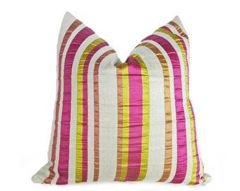 Pink Chartreuse Pillow Covers,  Pink Green Striped Pillows, Fuchsia Throw Pillows, Pink Cushions, 12x20 Lumbar, 18x18, 20x20, 26x26, CUSTOM