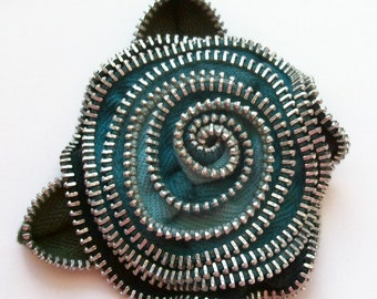 Turquoise / Aqua / Black Floral Rose  Brooch / Zipper Pin by ZipPinning  2967
